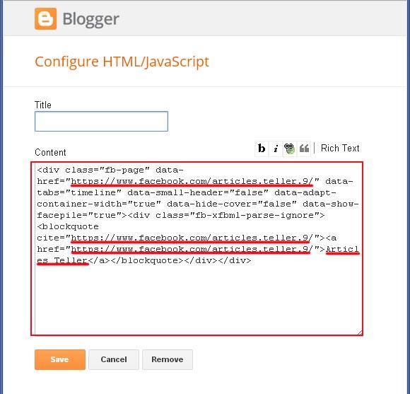second code for facebook widget blogger