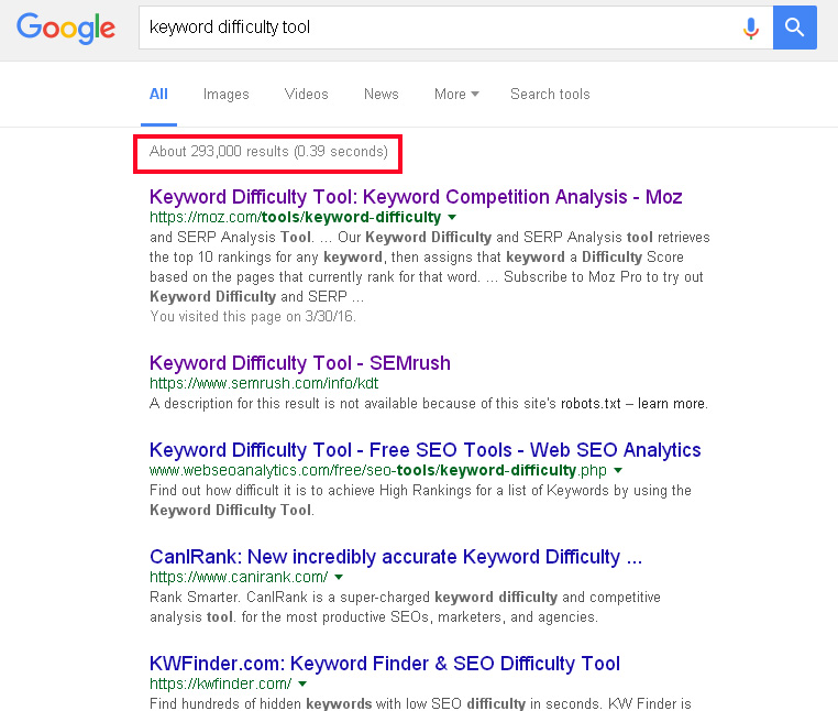 Google keyword difficulty check-up