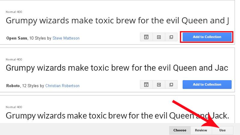 choose a font trick